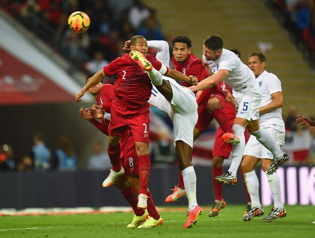 Gary Cahill scores England's second goal against Peru.