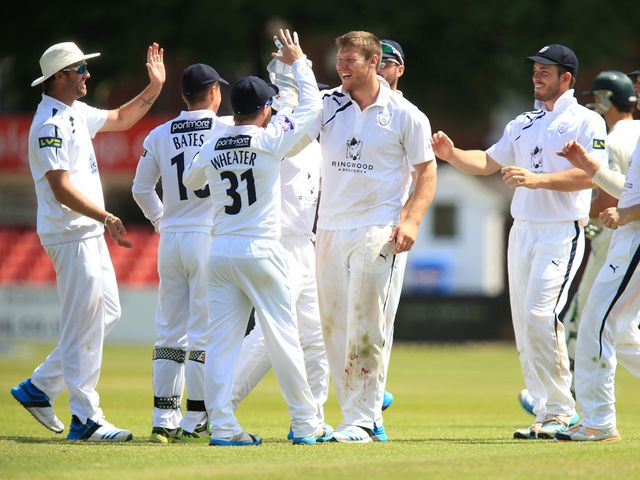 Hampshire's Michael Bates celebrates the wicket of Leicestershire's Rob Taylor