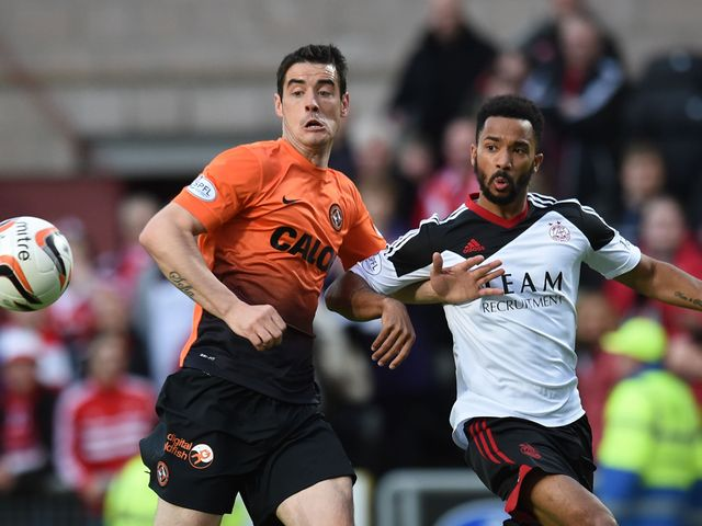 Dundee United's Brian Graham (left) tussles with Shaleum Logan
