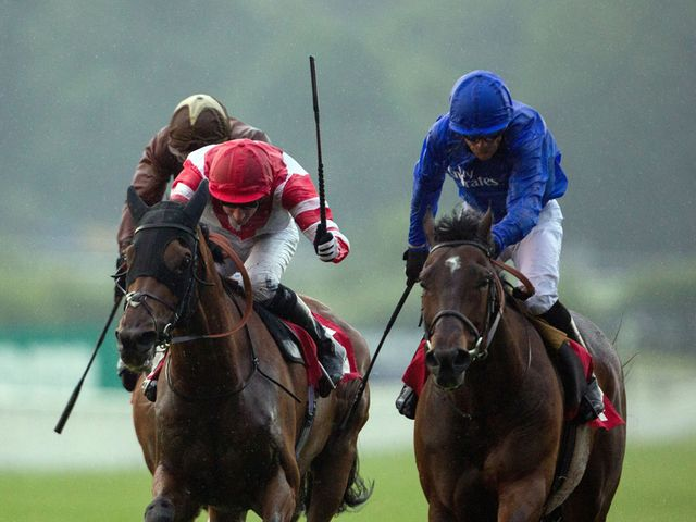 Sharestan (right) just prevails in the climax to the Brigadier Gerard Stakes.