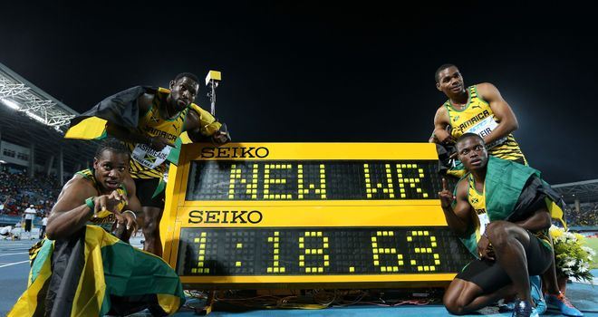 Jamaica's men posted a new world record in the 4x200 metres in Nassau