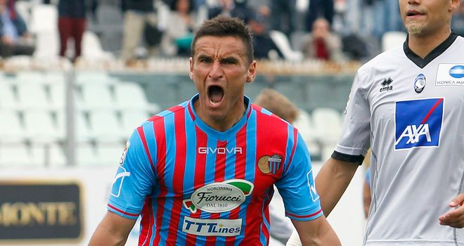 Gonzalo Bergessio of Catania celebrates after scoring