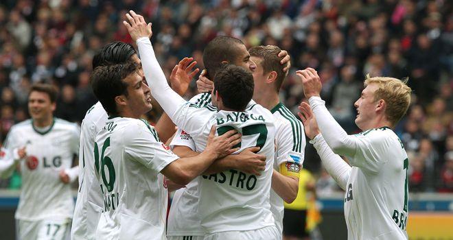 Leverkusen celebrate Gonzalo Castro's goal
