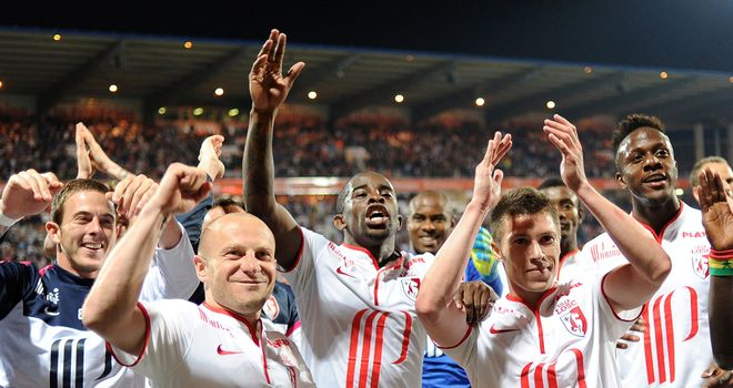 Lille celebrate reaching the Champions League