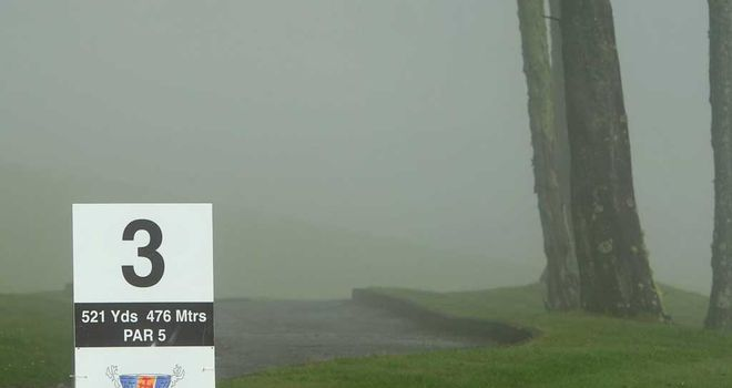 Visibility was down to 50 yards on the higher parts of the Santo da Serra course