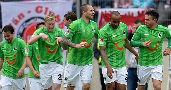 Hannover celebrate Manuel Schmiedebach's goal
