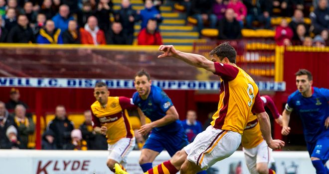 John Sutton: Fires Motherwell in front from the penalty spot