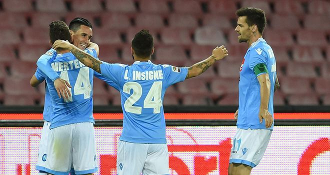 Jose Maria Callejon of Napoli celebrates