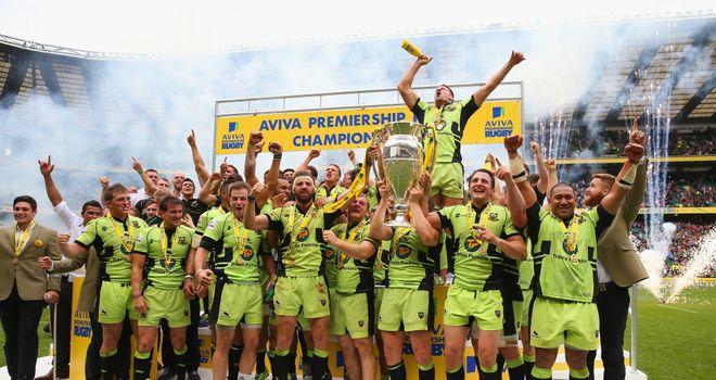Northampton celebrate their first Premiership title