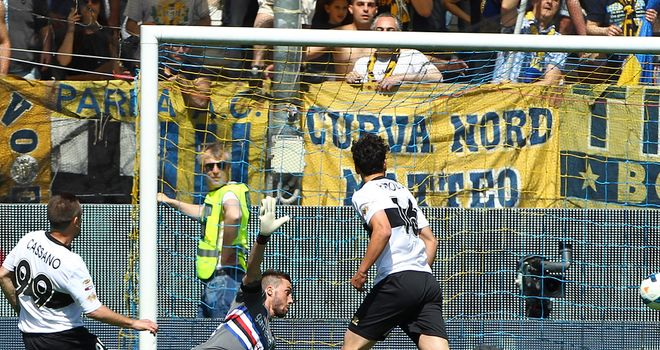 Antonio Cassano opens the scoring for Parma