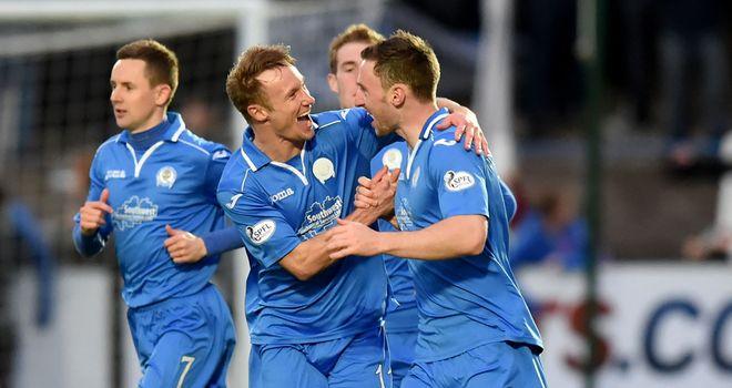 Bob McHugh: Celebrates scoring against Falkirk