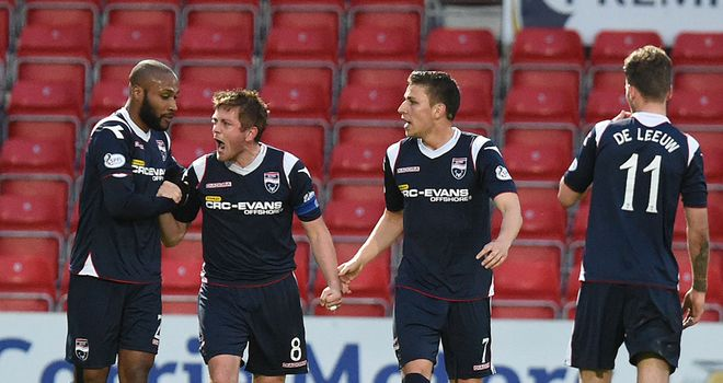 Ross County celebrate Richard Brittain's crucial goal
