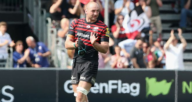 Steve Borthwick leaves the field during last week's Premiership semi-final against Harlequins after sustaining a pectoral muscle