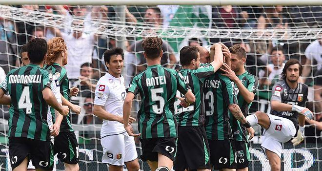 Sassuolo celebrate Antonio Floro Flores' opener