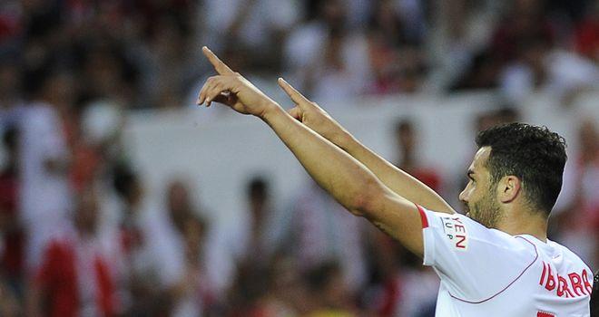 Sevilla's Vicente Iborra de la Fuente celebrates