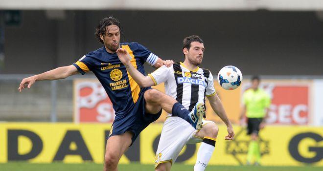 Luca Toni puts Maurizio Domizzi under pressure