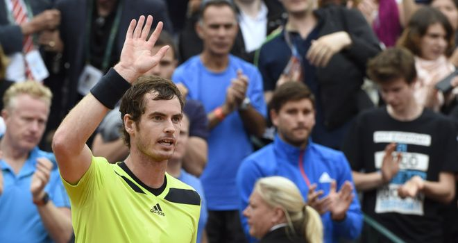 Andy Murray celebrates beating Marinko Matosevic at Roland Garros