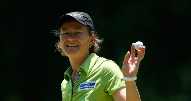 Catriona Matthew of Scotland reacts after her par putt on the ninth green during round one of the Airbus LPGA Classic