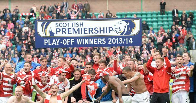 Hamilton players celebrate promotion