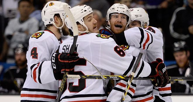 Chicago Blackhawks celebrate after claiming crucial 4-3 win over LA Kings