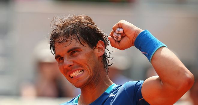 Rafael Nadal: Celebrates his straight sets victory over Jarkko Nieminen