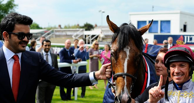 Owner Sheikh Joaan with Olympic Glory following his Lockinge success
