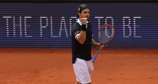 Tommy Haas: Celebrates beating Andreas Seppi