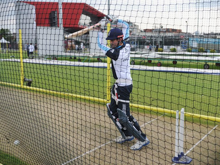 Alastair Cook in the nets at Old Trafford