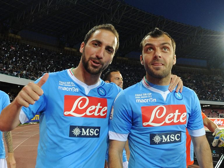 Gonzalo Higuain and Goran Pandev of Napoli