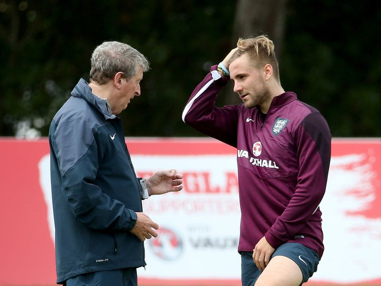 Luke Shaw (right) with England manager Roy Hodgson