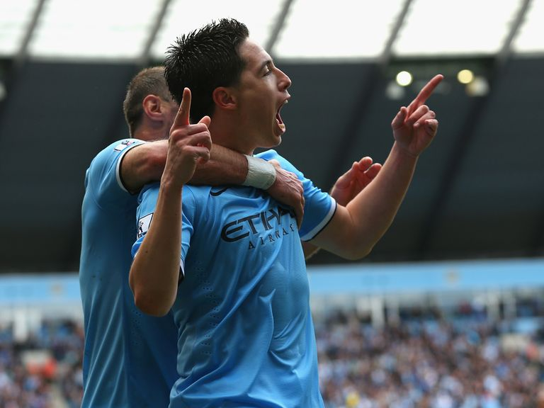 Samir Nasri celebrates City's opening goal against West Ham