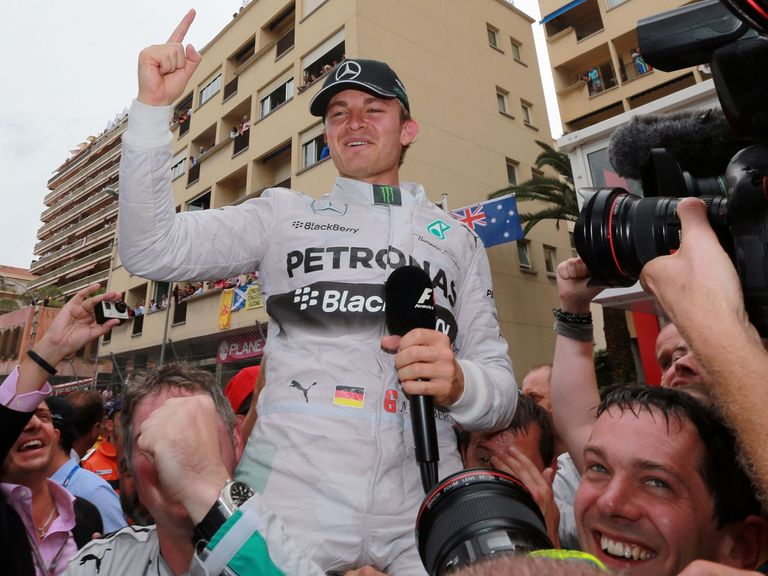 Nico Rosberg celebrates his victory in the Monaco Grand Prix