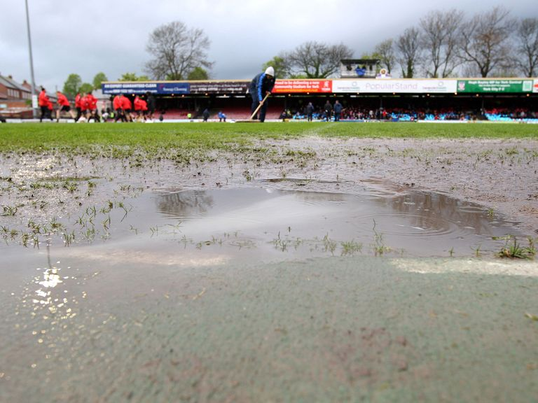 Bootham Crescent was hit by rain on Saturday