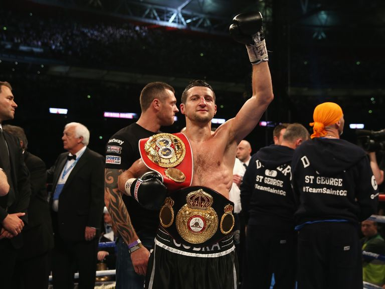 Froch celebrates his stunning victory over Groves