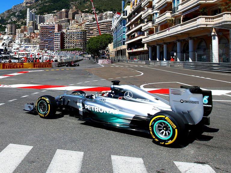 Lewis Hamilton drives during final practice in Monaco