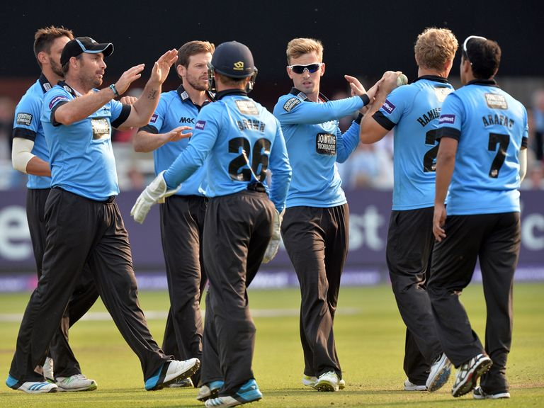 Sussex celebrate victory over Middlesex