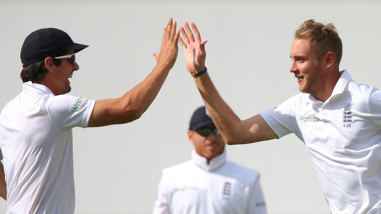 Alastair Cook (left) has the full backing of all-rounder Stuart Broad
