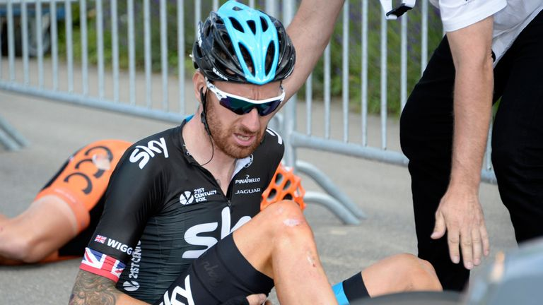 Sir Bradley Wiggins suffered a thigh injury as a result of his fall