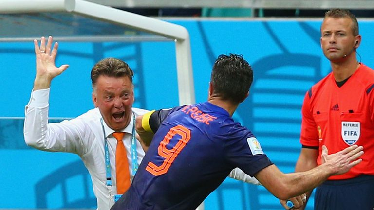 Louis van Gaal (L): Praises new formation and Robin Van Persie