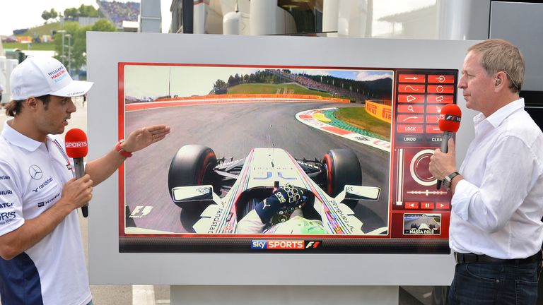 Felipe Massa describes his pole position lap on the SkyPad to Martin Brundle