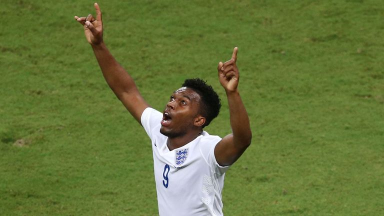 Daniel Sturridge celebrates his equaliser against Italy