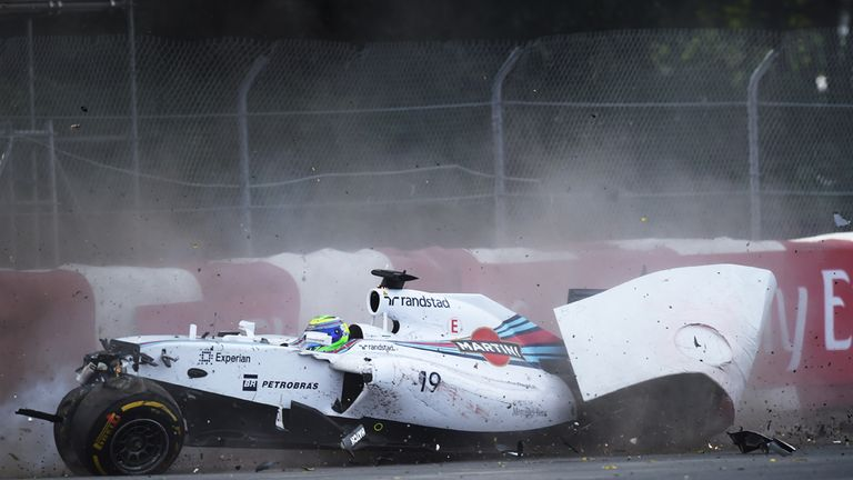 Williams driver Felipe Massa of Brazil hits the wall hard on the final lap at the Canadian Formula One Grand Prix