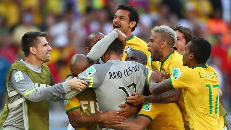 Brazil: Celebrate their victory over Chile on penalties