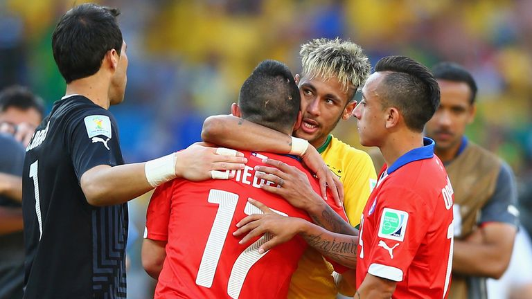 Gary Medel: Chile star consoled by Brazil's Neymar after game