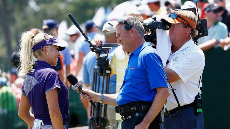 Sky Sports' Tim Barter interviews Natalie Gulbis on the practice ground.