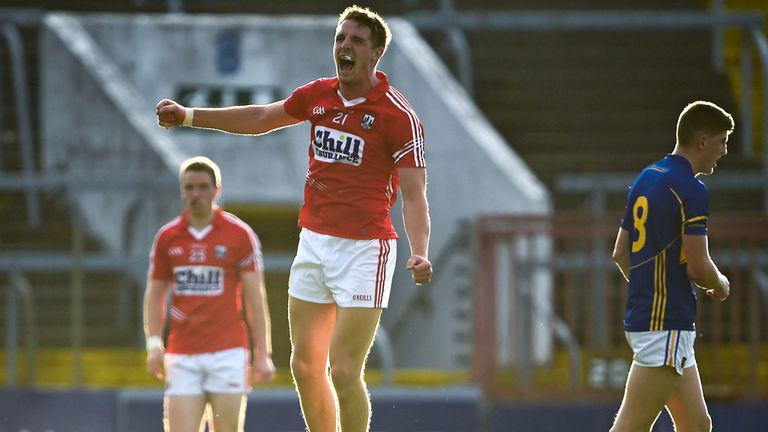 Aidan Walsh celebrates scoring a late point against Tipperary