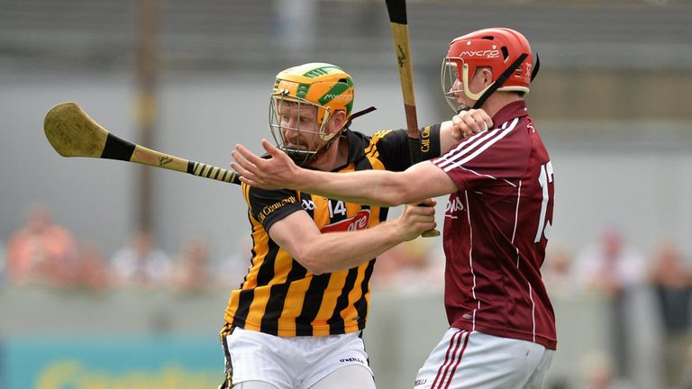 Richie Power is challenged by Cathal Mannion during Sunday's draw in Tullamore