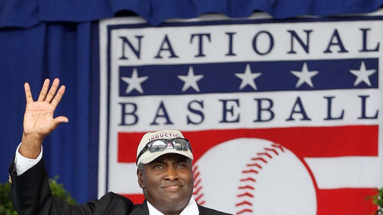 Tony Gwynn at his Hall of Fame induction ceremony in 2011