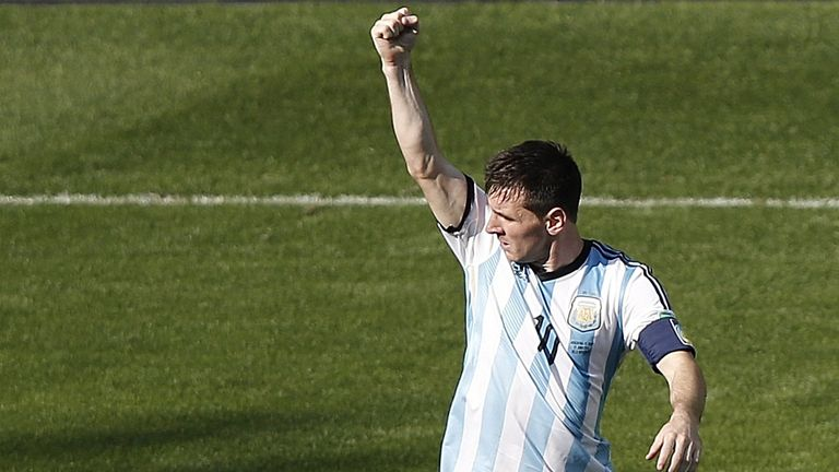 Lionel Messi: Celebrates after scoring winner in Argentina's 1-0 win over Iran
