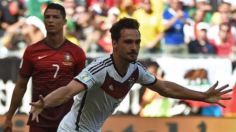 Mats Hummels (R): Celebrates scoring Germany's second goal